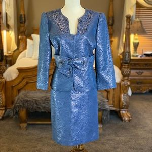 Tahari ASL Luxe Embellished Skirt Suit Size 10P